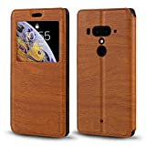HTC U12 Plus Case, Wood Grain Leather Case with Card Holder