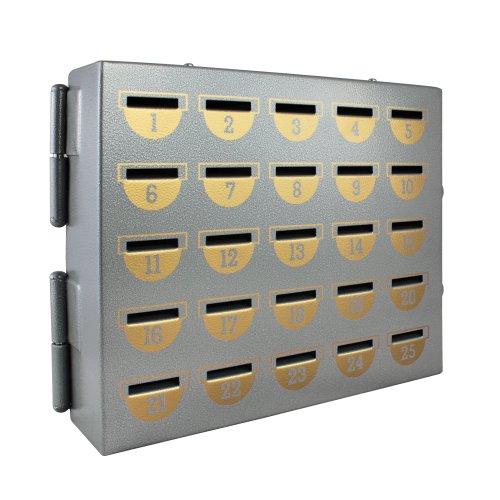 HMF 10525-09 Sparschrank 25 Sparfächer, 23,0 x 27,0 x 7,0 cm, silber