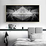 Black Whit Gebäude Wandkunst Leinwand Malerei Louvre