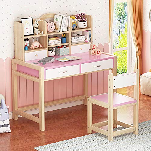 TY&WJ Kids'learning Desk and Chair Set,Children's Desk with Hutch & Bookshelf,Student Desk with Drawer Bedroom Study Desk for Drafting Reading-Pink 80cm/31inch