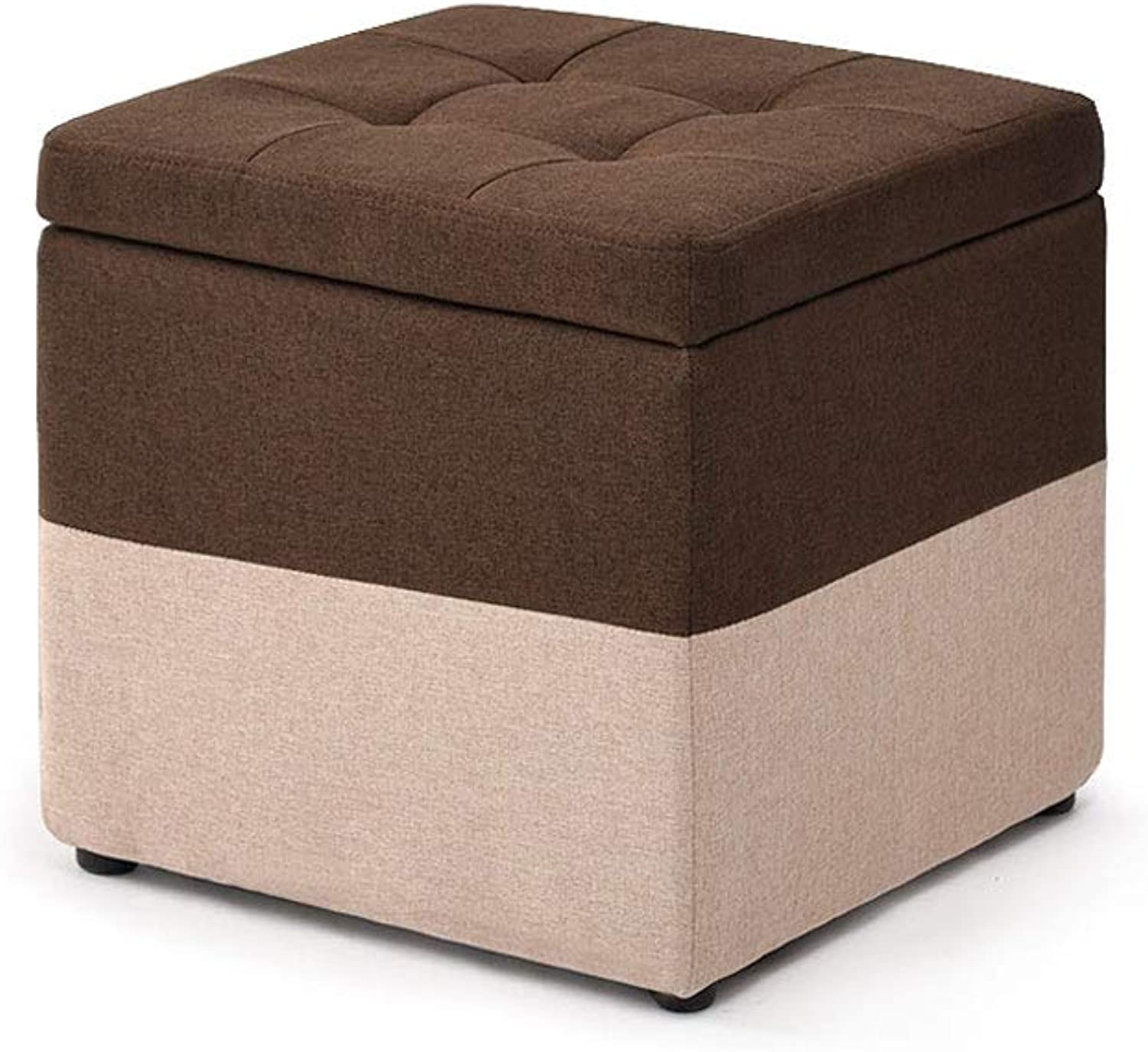 FH Fabric Footstool, Storage Stool Fashion Storage Stool Living Room Low Stool Coffee Table Stool 40×40×40cm, Multi-color Selection (color   Brown)