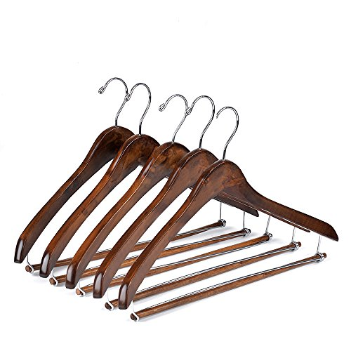 Quality Hangers Wooden Hangers Beautiful Sturdy Suit Coat Curved Hangers Great for Travelers Heavy Duty Hanger with Locking Bar - Retro Finish 5