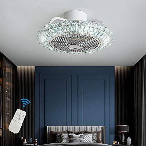 Ouuily Cristal Ventilador de Techo LED Moderno Ventilador de Dormitorio 64W Ajustable Luz de Techo para Dormitorio, Salón, Comedor