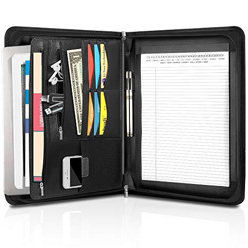 Cartella Portadocumenti A4, Simboom Organizzatore in Pelle PU Business Professionale Porta Documenti per MacBook Air Pro da 13,3 pollici, supporto per tablet, Nero
