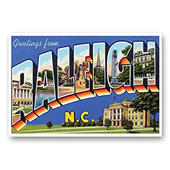 GREETINGS FROM RALEIGH NC vintage reprint postcard set of 20 identical postcards Large Letter Raleigh North Carolina city name post card pack  ca 1930 s-1940 s  Made in USA.