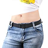 Womens Invisible Belt Comfortable Elastic Adjustable No Show Web Belt for Women or Men by JASGOOD,Black,US Size 0-14 Inches