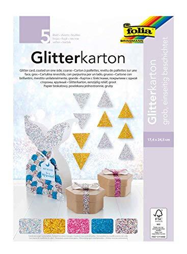 folia 86139 - Glitterkarton Block grob, einseitig beschichtet mit grobem Glitter, ca. 17,4 x 24,5 cm, 5 Blatt 300 g/m², farbig sortiert, für glitzernde Akzente bei Ihren Bastelarbeiten