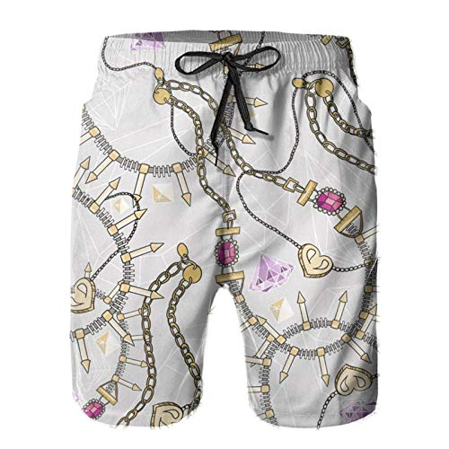 Mayblosom Men Beach Shorts Pastel Jewelery Necklace Kaleidoscope Pata Summer Swim Trunks Quick Dry Board Shorts Funny 3D Printed Beachwear with Drawstring L White