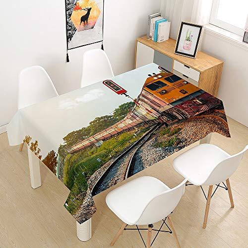 Hiser Mantel para Mesa Rectangular de Impermeable Resistente al Aceite Manteles de Antimanchas para Mesas Comedor Cocina (Pista,100x140cm)