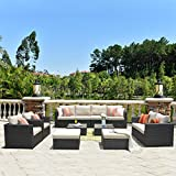 ovios Patio Furniture Set, 12 PCS Big Size Sunbrella Outdoor Backyard Sets PE Rattan Sectional with Coffee Tables and 4 Pillows and 2 Patio Covers, Garden Wicker Sofa Set, No Assembly Required (Beige)