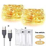 [2 pezzi] IDESION - Catena Striscia LED USB 60LED 6M (Bianco Caldo)