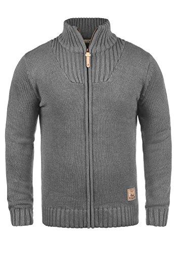 !Solid Poul Herren Strickjacke Cardigan Grobstrick Winter Pullover mit Stehkragen, Größe:XXL, Farbe:Grey Melange (8236)