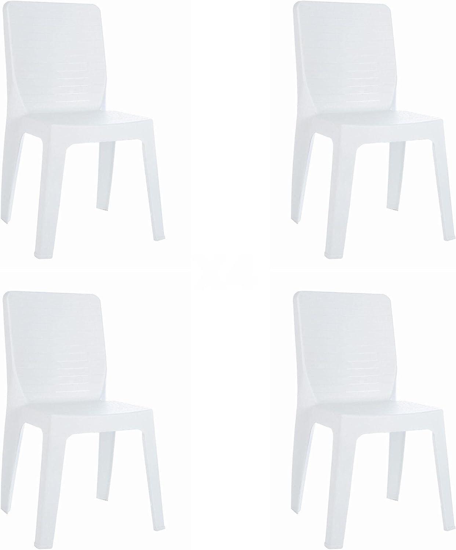 RESOL Iris Set 4 Sillas de Jardín Apilable | Terraza, Patio, Exterior, Comedor, Reuniones | Diseño Moderno | Ligera y Resistente Filtro UV - Color Blanco
