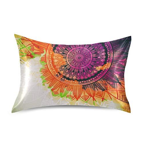BGIFT - Funda de almohada de satén de acuarela abstracta mandala floral fundas de almohada decorativas tamaño Queen de 50 x 76 cm con cierre de sobre, fundas de almohada para cabello y piel