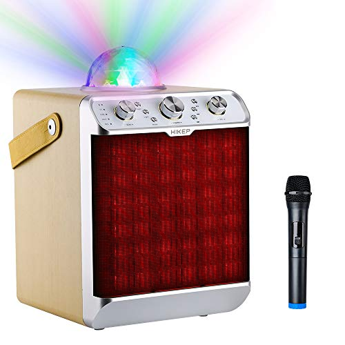 HIKEP Bluetooth Karaoke Machine with Disco Ball, Portable PA System Wireless Speaker for Kids Adults with Wireless Microphone for Parties Karaoke