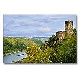 CALVENDO Premium Textil-Leinwand 90 x 60 cm Quer-Format Burg Gutenfels, Kaub, Leinwanddruck von JF-Fotografie