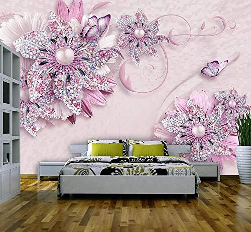 VGFGI Mural 3D Pvc impermeable autoadhesivo papel tapiz de vinilo flores rosas flores joyería figura mariposa perla papel tapiz decoración del hogar