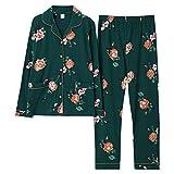 ZJMIYJ Pijamas De Mujer,Otoño Invierno Señoras Pijamas Conjunto Flor Estampado Algodón Pijama Conjunto De Cuello De Manga Larga Pantalones Cálidos Y Acogedores Ropa del Hogar, Verde, XXXL