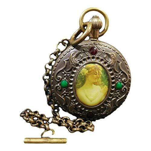 LAOJUNLU Reloj de bolsillo de bronce cloisonné coleccionado Pintura occidental 'OMEGA' doblemente abierta de una pieza
