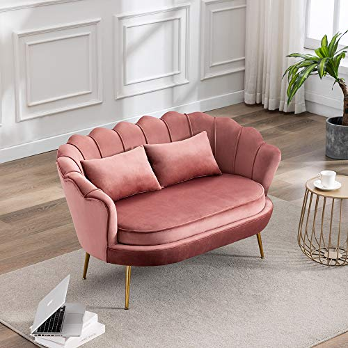 Sofá de doble plaza, sofá de terciopelo con patas de metal dorado, silla de salón ocasional para sala de estar, dormitorio, oficina en casa