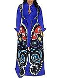 Shirt Dresses for Women Button Down Long Sleeve Loose Butterfly Print Cocktail Swing Maxi Shirt Dress with Belt Blue XL