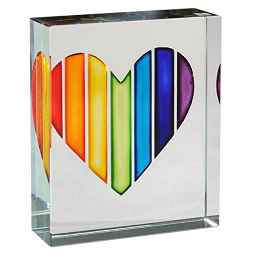 Spaceform Glass Token Rainbow Heart 1954