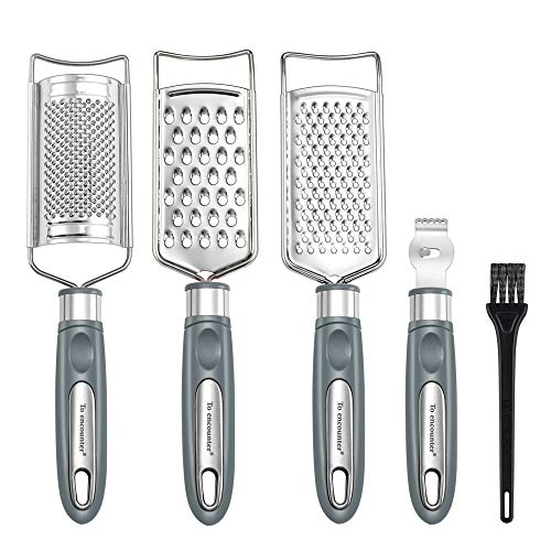 To encounter Set of 5 Cheese Grater & Peeler,Lemon Zester, Stainless Steel Multi-purpose Kitchen Food Grater Slicer for Vegetable, Fruit, Chocolate With Cleaning Brush (Grey)