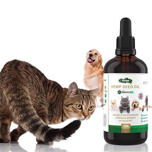 Bermond Life Hanföl für Haustiere mit Omega 3 und 6 – Glasflaschen 100 ml – Hanfsamen Öl bei Angst und Gelenkschmerzen von Tieren, aus Großbritannien