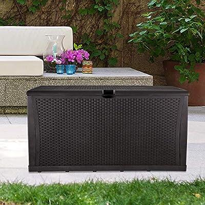 GDY 120 Gallon Patio Storage Deck Box Outdoor Storage Plastic Bench Box,Resin Wicker Storage Container Bench Seat (Brown)