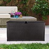 GDY 120 Gallon Patio Storage Deck Box Outdoor Storage Plastic Bench Box ,Resin Wicker Storage Container Bench Seat (Brown)