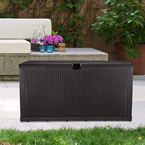 GDY 120 Gallon Patio Storage Deck Box Outdoor Storage Plastic Bench Box,Resin Wicker Storage Container Bench Seat (Brown)