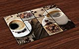Ambesonne Brown Place Mats Set of 4, Coffee Themed Collage Close up Mugs Beans on Wooden Table Aromatic Roasted Espresso Drink, Washable Fabric Placemats for Dining Room Kitchen Table Decor, Brown