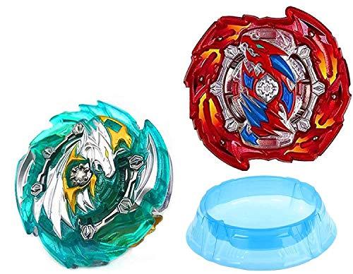 ML Pack de 2 Juego peonzas de batallas , 2 lanzadores de Mano de peonza Infinity Juguete con Lanzador de Mano 2 Espada Estilo Bey. Juguete y de Regalo un Estadio Arena Azul para niños