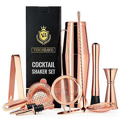 12-Piece Bartender Kit Boston Cocktail Shaker Bar Set by VinoBravo : 2 Weighted Shaker Tins, Strainer Set, Double Jigger, Bar Spoon, Ice Muddler & Tong, 2 Liquor Pourers & Recipe Guide (Rose Copper)