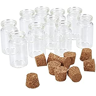 Pandahall 10 Pcs Mini Empty Clear Glass Wishing Bottles Vials With Cork, Bead Containers, about 22 x 40mm:Btc4you
