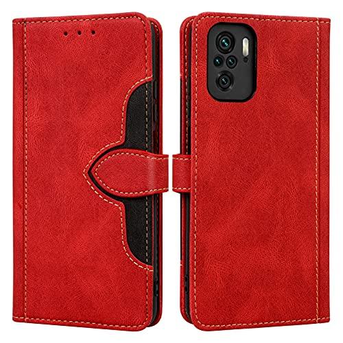 Hohosb Xiaomi Redmi Note 10 4G Hülle,Xiaomi Redmi Note 10S Handyhülle mit Kartenfach [Premium PU Leder] [Kartenfach] [Magnetverschluss] Klapphülle für Xiaomi Redmi Note 10 4G Schutzhülle-rot