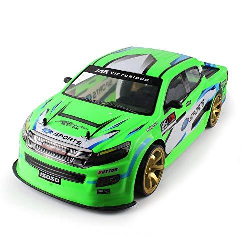 SUNFANY RC Remote Control Car - Coche teledirigido (4 ruedas, 1:10, 70 km/h, 2,4 G, batería doble 4Wd, faro LED de alta potencia, color verde)