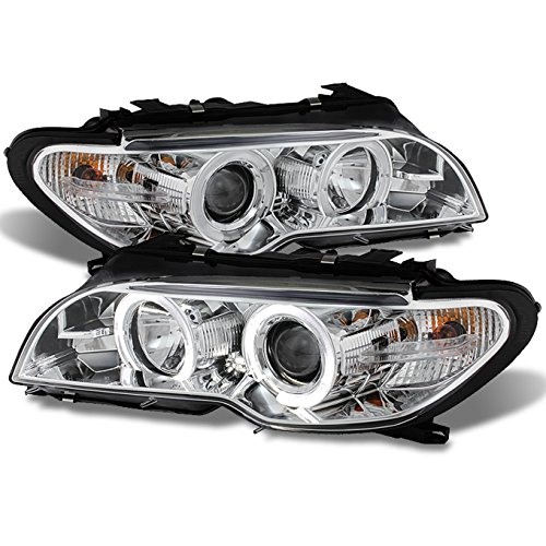 AKKON - For BMW E46 3-Series 2 Doors Coupe Black Halo Ring LED Projector Replacement Headlights LH + RH Lamps