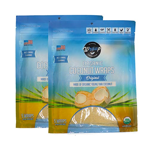 Organic Coconut Wraps, Coco Nori Original (Raw, Vegan, Paleo, Gluten Free wraps) Made from young Thai Coconuts (2 Pack)