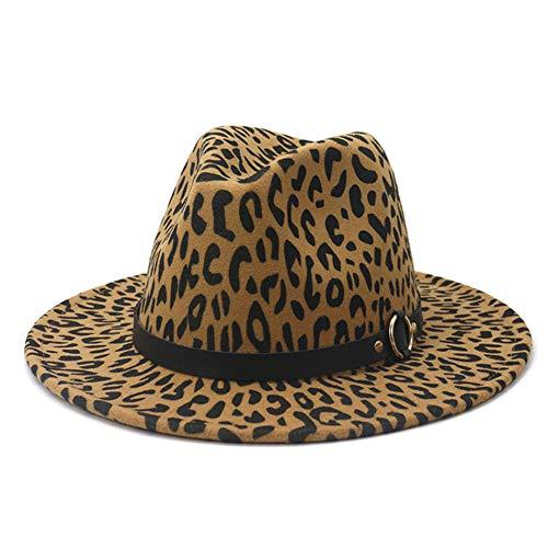HUDANHUWEI Sombrero Panamá de ala Ancha de Fieltro con Hebilla de cinturón de Leopardo para Mujer - Marrón - Talla única