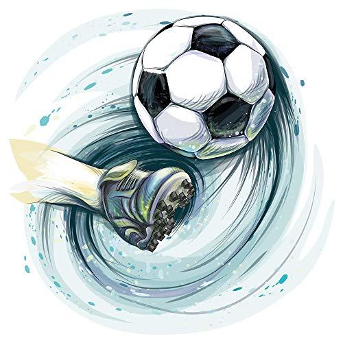 dekodino Adesivo murale calcio piede con calcio camera dei giovani adolescente