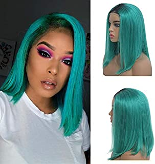 Lace Front Human Hair Wigs Short Bob Straight Wig Brazilian Virgin Hair 150% Density with Baby Hair Pre-plucked for Black Women Ombre Blue 8inch