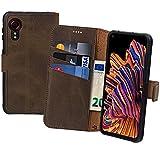 Suncase Book-Style Hülle kompatibel mit Samsung Galaxy Xcover 5 Leder Tasche (Slim-Fit) Lederhülle Handytasche Schutzhülle Hülle mit 3 Kartenfächer in antik-braun