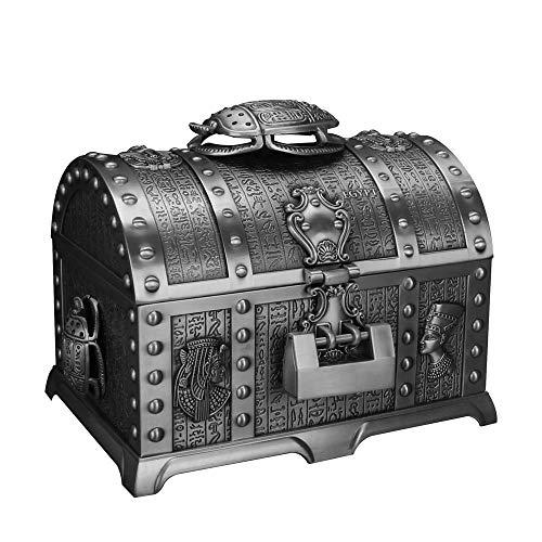 DANJIA Baúl doble de estilo antiguo Egipto con cerradura grande de estilo europeo, caja de almacenamiento de 16,5 x 11,5 x 12,5 cm (color: 1)