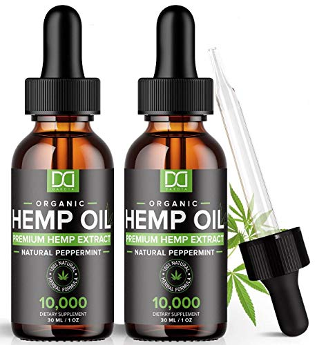 (2 Pack) 10000MG Hemp Oil for Pain Relief Anxiety Sleep Mood Stress 20,000mg Total - Aceite de Camo, l'huile de chanvre, Immune Support - Best Pure Natural Organic Hemp Seed Extract Tincture Drops