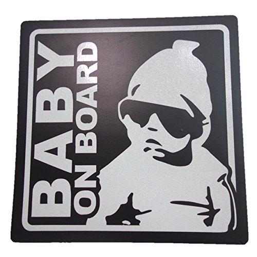 BABY ON BOARD 赤ちゃん 乗車中 (12cm マグネット ステッカー ブラック)