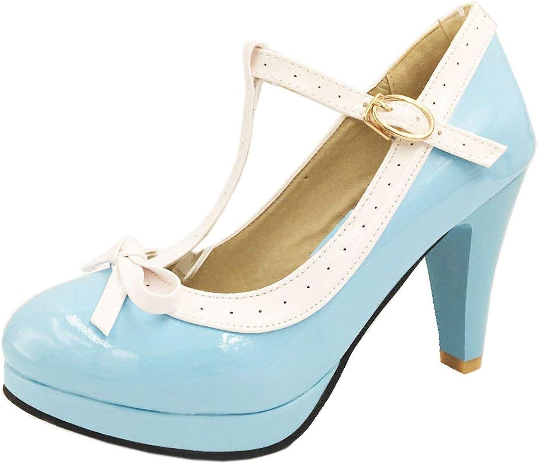 Unm Women's Elegant High Heel Party Pumps shoes T-Strap Platform shoes