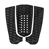 Seafard 3 Piece EVA Surfboard Deck Traction Pads, Surf Traction Pad with Kicker for Stomp Skimboards, Surf Boards, Funboard, Fish Board, (Black)