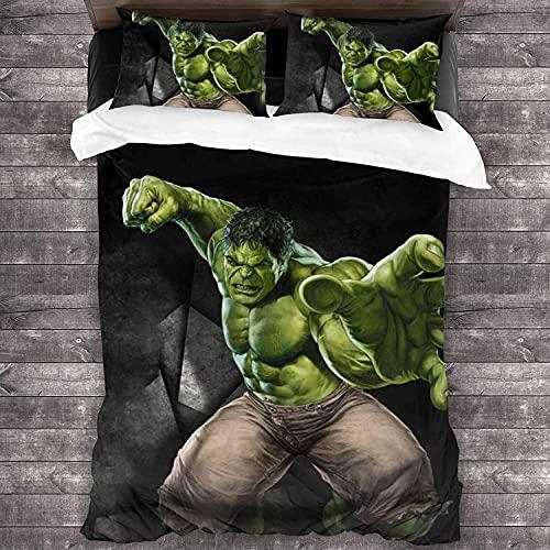 AQEWXBB La funda nórdica Incredible Hulk es un símbolo de fuerza y fuerza, te mereces tener (Hulk, 140 x 210 cm + 80 x 80 cm x 2).