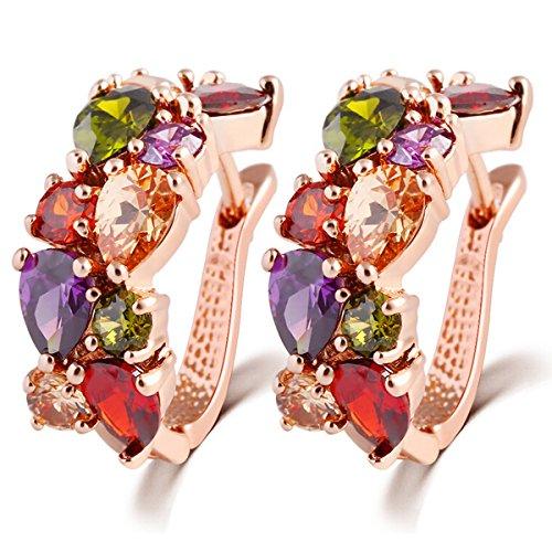 ZUMUii Butterme Elegante Fibbia Orecchio Colorati squisita Cristallo Presente Placcato Oro zirconi Perno Regalo Gioielli orecchino Donne-Oro